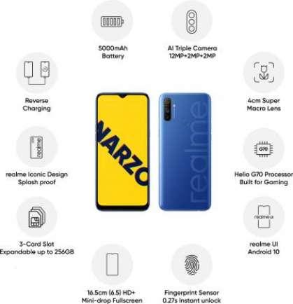 Narzo 10A 3 GB RAM 32 GB Storage Blue